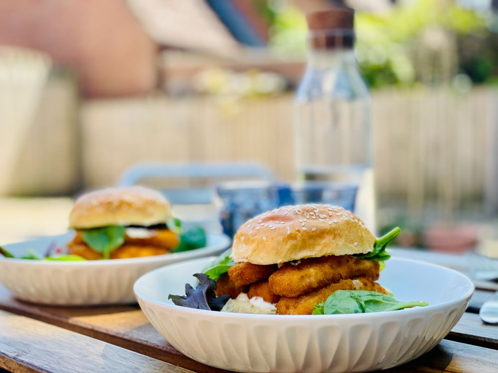 fish sandwiches plated on the table