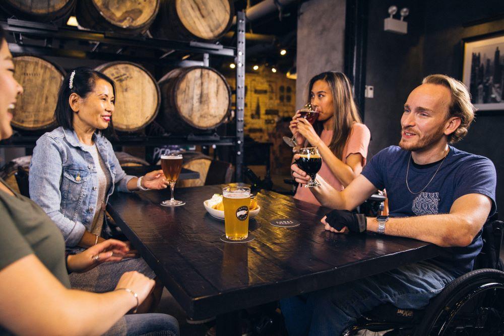 friends having a beer together