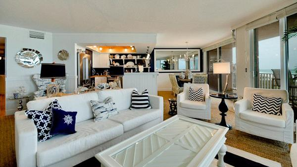 living room of beachfront rental in AMI