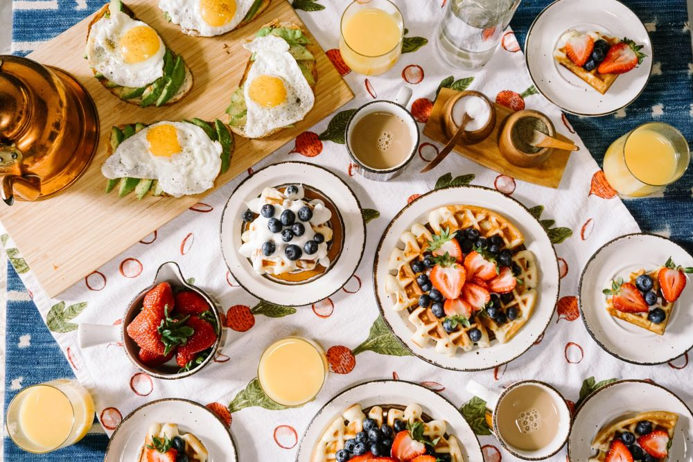 Breakfast dishes on a table