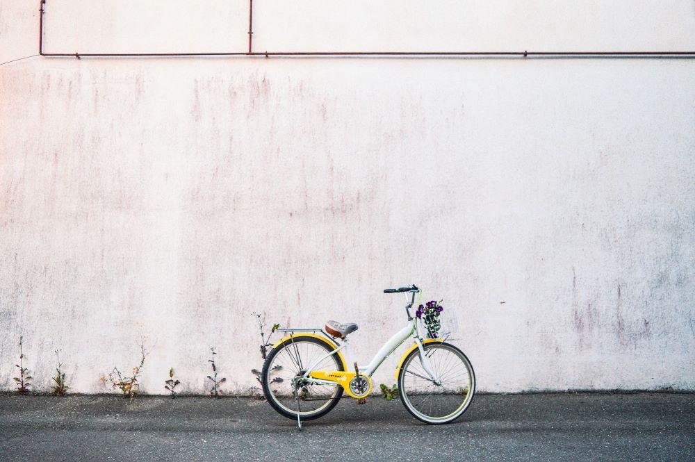 Yellow bike standing alone
