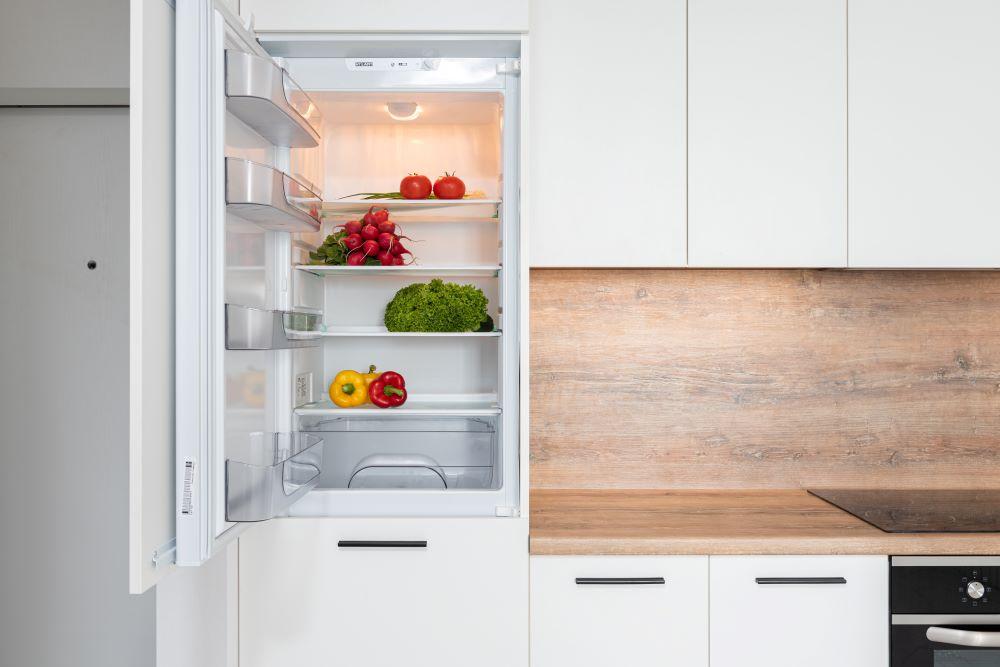 refrigerator with fresh veggies