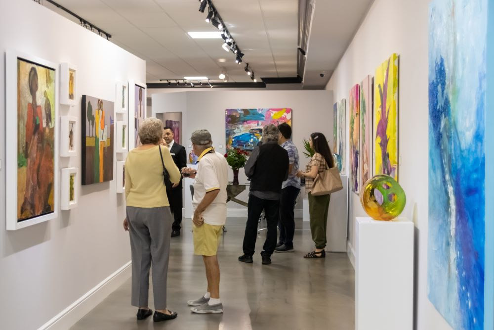 People viewing art in a gallery